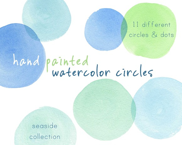 Blue-Green Watercolor Circles Dots