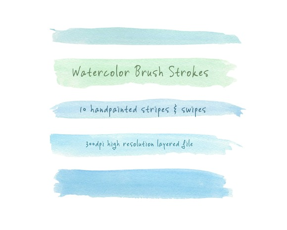 Watercolor Brush Strokes Blue-Green