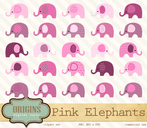 Baby Pink Elephants Clip Art