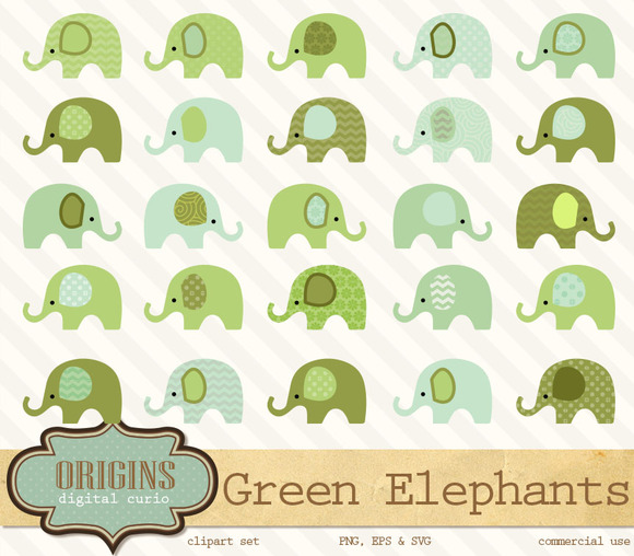 Green Elephants Vector Clipart