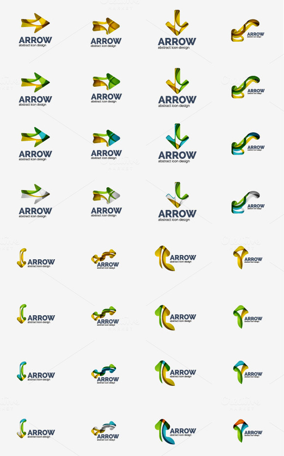 Overlapping Icon Logos Set