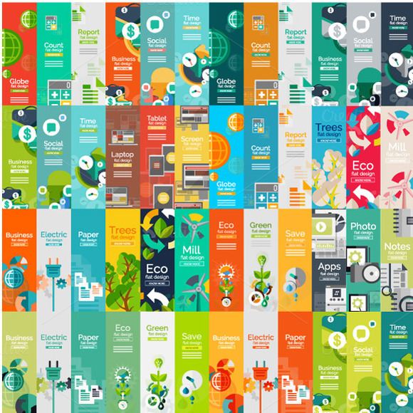 Flat Infographic Banners Set 1