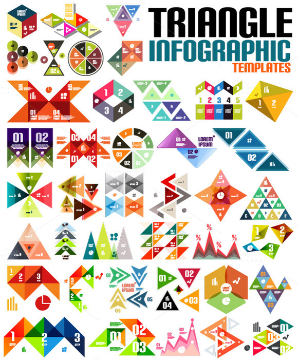 Triangle Infographic Designs Set