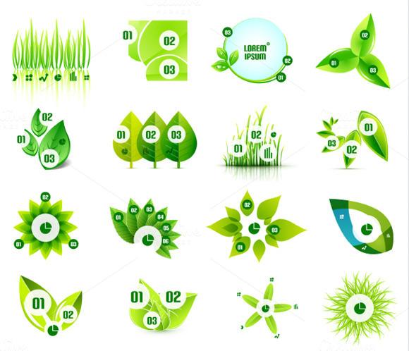 Set Of Eco Leaf Infographic Designs