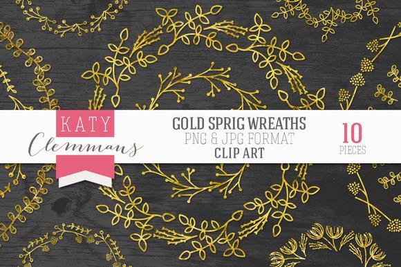 Gold Sprig Wreaths Clip Art Pack