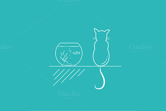 Cat And A Gold Fish Outline Drawing