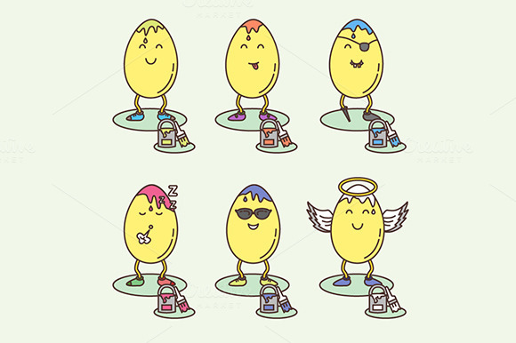 Easter Eggs Smiley Variations Set