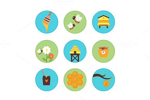 Honey Bees Hives Set