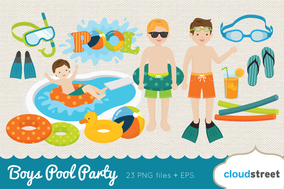 Boys Pool Party Clip Art