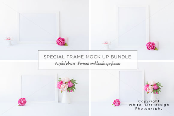 BUNDLE 4 Styled White Frame Photos