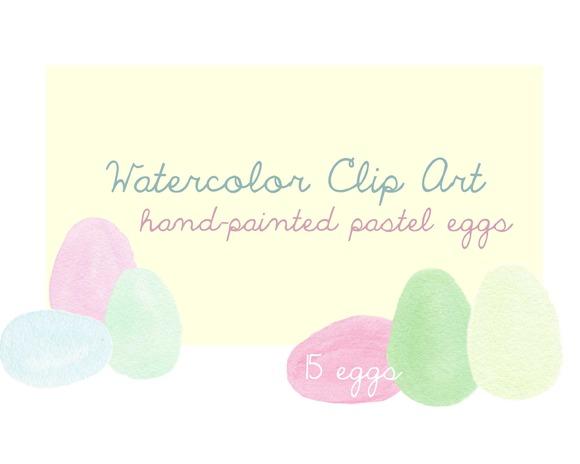 Watercolor Pastel Eggs Clip Art