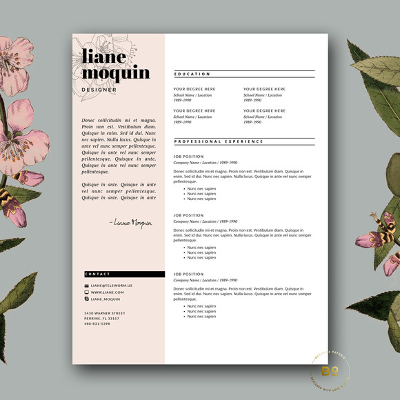 Feminine CV Template For Word