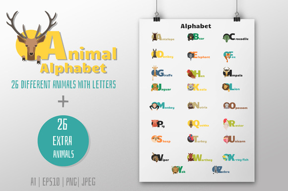 56 Animals Alphabet Letters