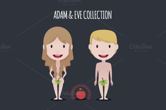 Adam Eve Illustration Set