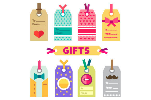 Gift Set Of Labels And Post Card In