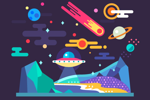 Space Landscape In Flat Style