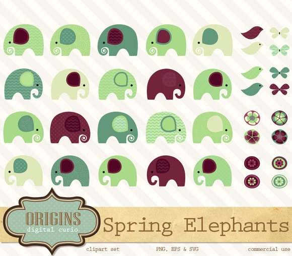 Spring Elephants Clipart