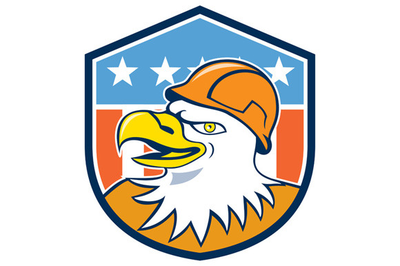 Bald Eagle Construction Worker Head