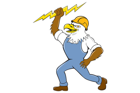 Bald Eagle Electrician Lightning Bol