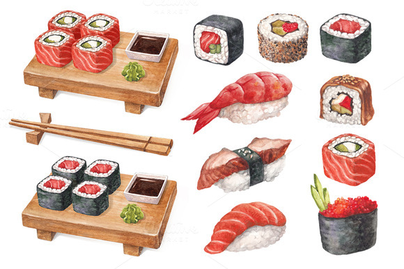 Watercolor Illustrations Of Sushi