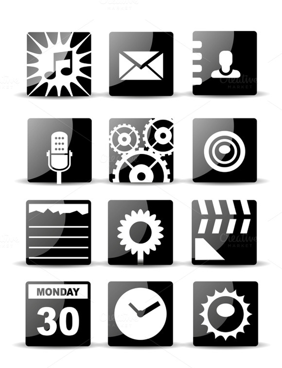 Modern Flat Mobile App Icons Set