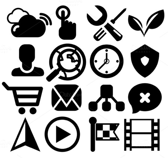 Modern Black Web Icons Set 1