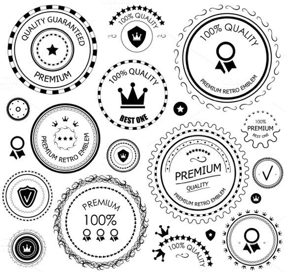 Retro Quality Guarantee Labels Set