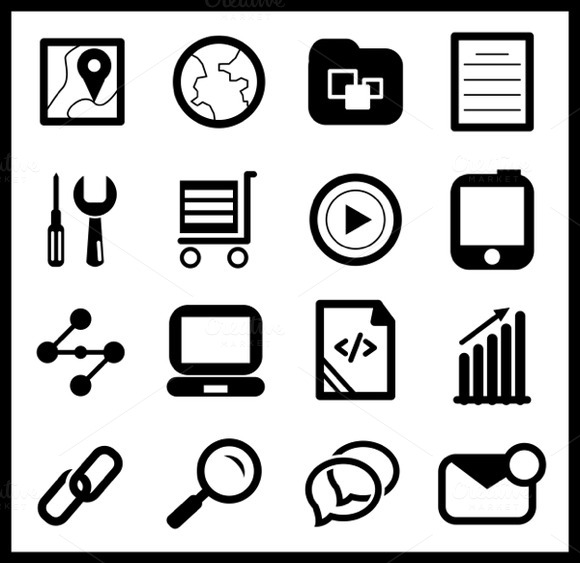 Modern Black Web Icons Set 2