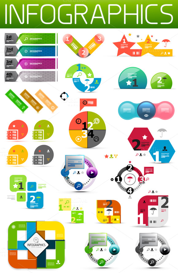 Vector Paper Infographic Set