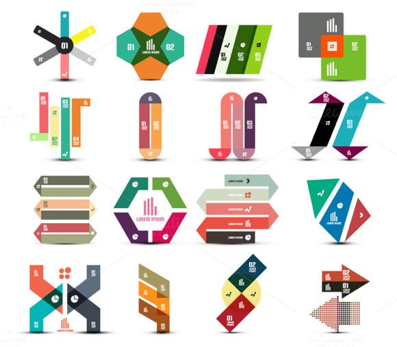 16 Paper Infographic Designs Set 1