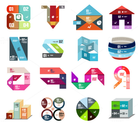 16 Paper Infographic Designs Set 2