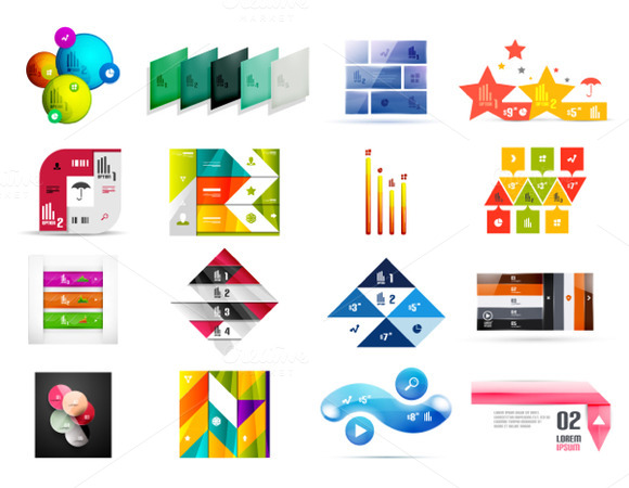 16 Paper Infographic Designs Set 5