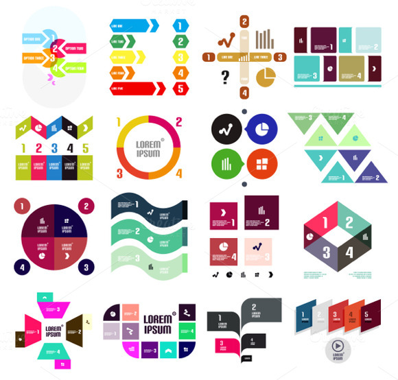 16 Paper Infographic Designs Set 9