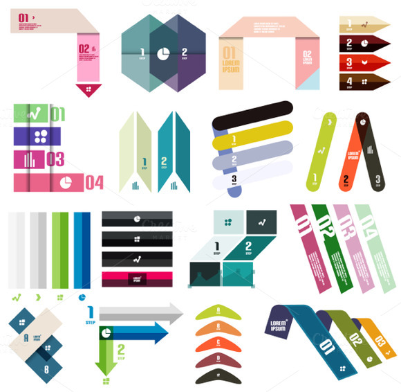 16 Paper Infographic Designs Set 12