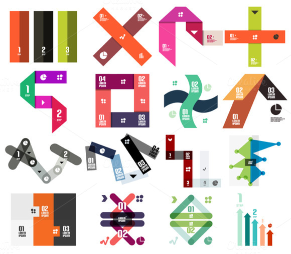 16 Paper Infographic Designs Set 13