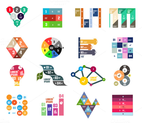 16 Paper Infographic Designs Set 23