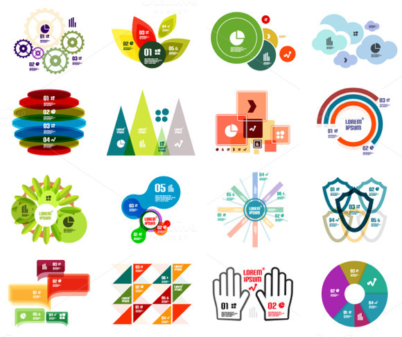 16 Paper Infographic Designs Set 30