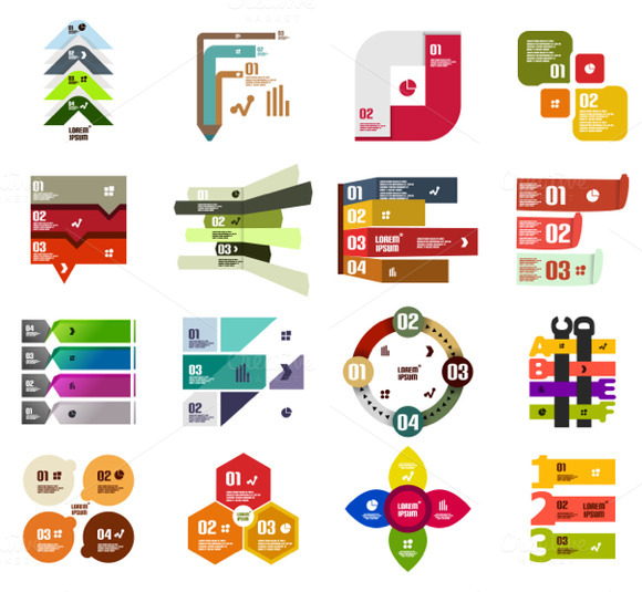 16 Paper Infographic Designs Set 32