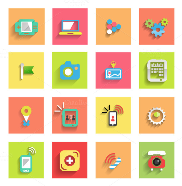 Flat Mobile Icons Set