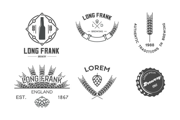 Vector Labels Of Brewery
