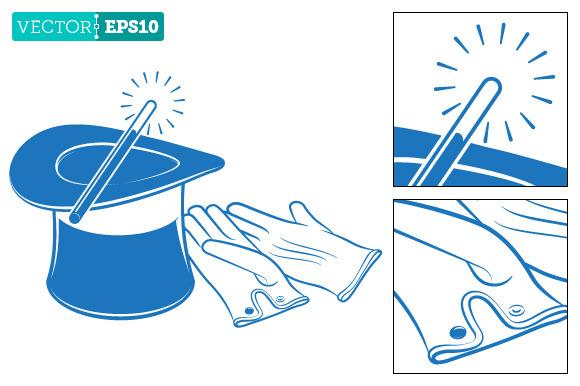 Magician Top Hat Magic Wand Gloves
