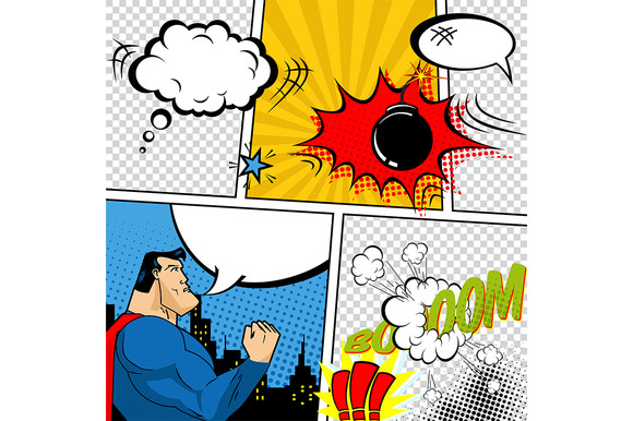 Vector Retro Comic Book Template