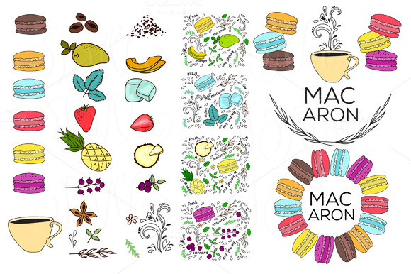 50 Unique Macarons Digital Clip Art