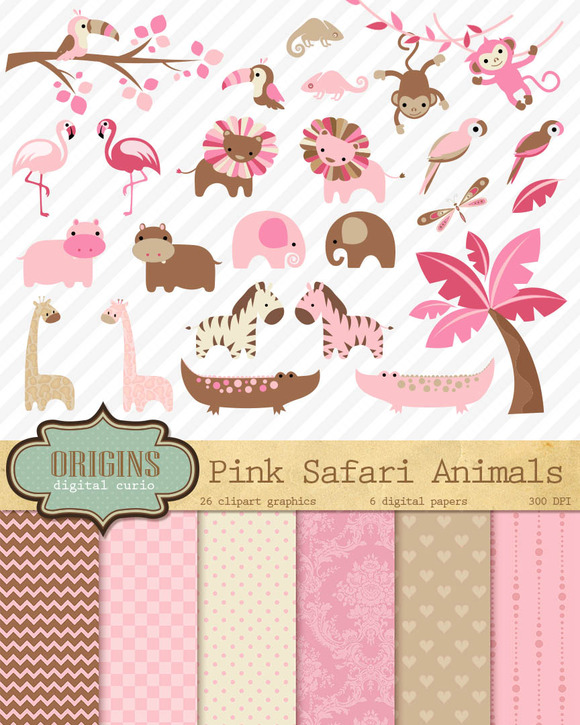 Baby Pink Safari Animals Clipart