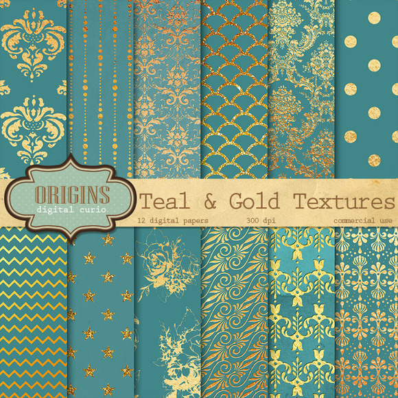 Teal And Gold Digital Paper