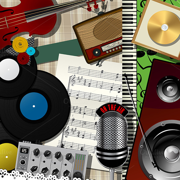 Music Colage Abstract Design