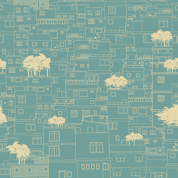 Seamless City Pattern Sketch