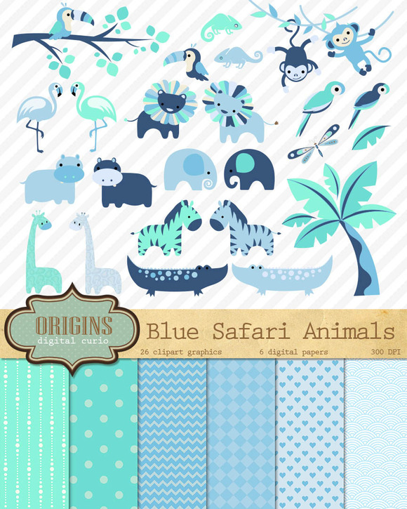 Baby Blue Safari Animal Clipart