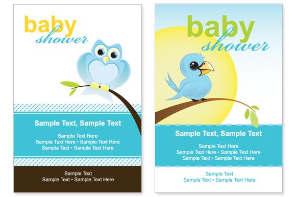 Bird Baby Shower Vector Cards