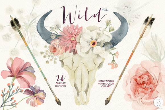 Watercolor Skull Wild Boho Vol.1